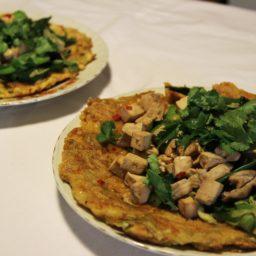 Okonomiyaki – Japanischer Gemüsepfannkuchen mit Tofu und Shiitake