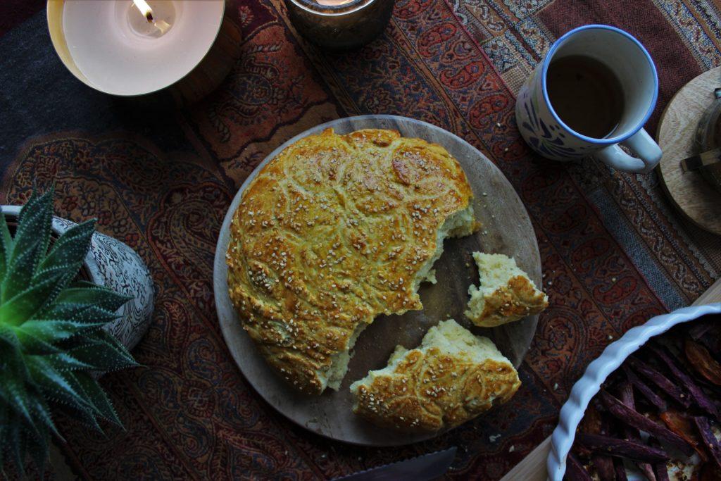 ReiseSpeisen I Krachel Marokkanisches Grieß-Brot mit Sesam nach Greg und Lucy Malouf